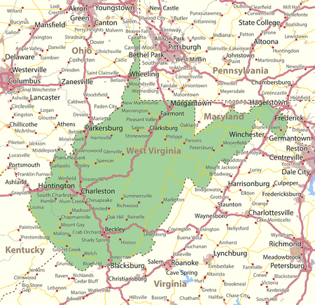Map of West Virginia. Shows state borders, urban areas, place names, roads and highways.