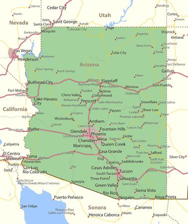 애리조나지도입니다. 주 경계, 도시 지역, 장소 이름, 도로 및 고속도로를 표시합니다. 투영 : 메르카토르.