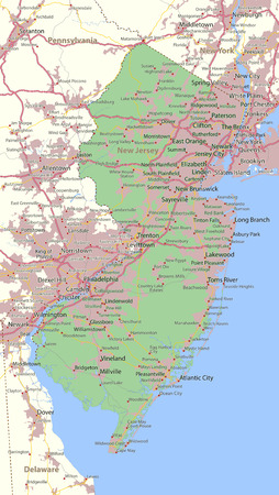 Map of New Jersey. Shows state borders, urban areas, place names, roads and highways.
