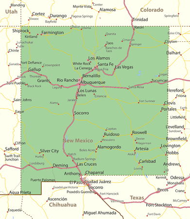 Map of New Mexico. Shows state borders, urban areas, place names, roads and highways.Projection: Mercator.