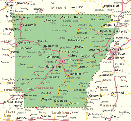 알칸사스지도. 주 경계, 도시 지역, 장소 이름, 도로 및 고속도로를 표시합니다. 투영 : 메르카토르. 일러스트