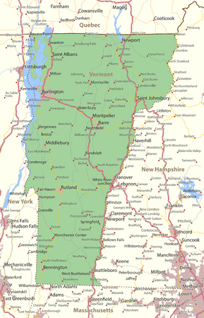 Map of Vermont. Shows state borders, urban areas, place names, roads and highways. Projection: Mercator.