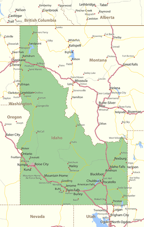 Map of Idaho. Shows state borders, urban areas, place names, roads and highways.Projection: Mercator.