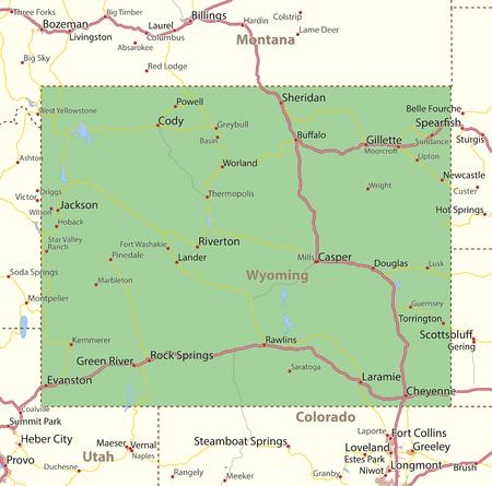 와이오밍의지도입니다. 주 경계, 도시 지역, 장소 이름, 도로 및 고속도로를 표시합니다. 투영 : 메르카토르.