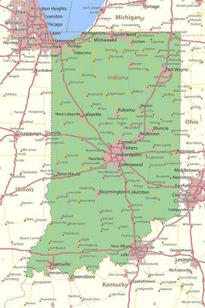 인디애나지도. 주 경계, 도시 지역, 장소 이름, 도로 및 고속도로를 표시합니다. 투영 : 메르카토르.