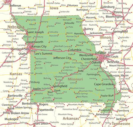 ミズーリ州の地図。州の境界線、市街地、地名、道路、高速道路を表示します。 投影: メルカトル。
