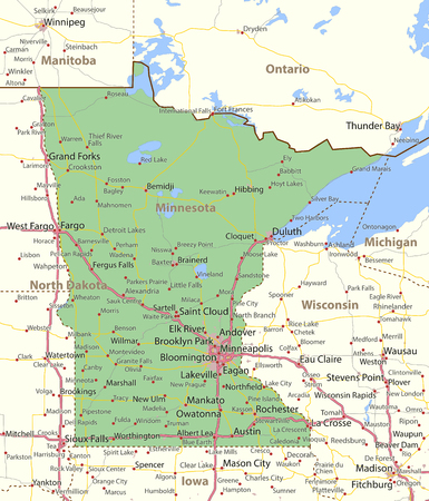 Map of Minnesota. Shows state borders, urban areas, place names, roads and highways.