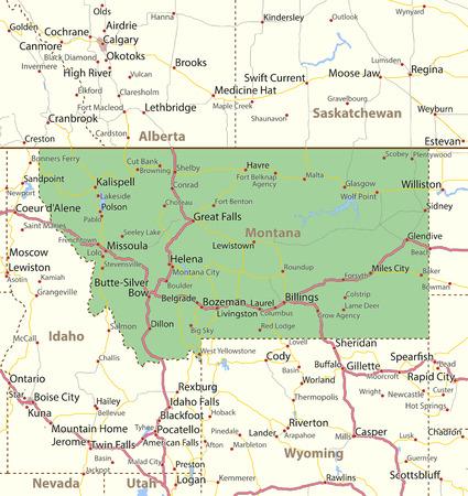 몬타나지도. 주 경계, 도시 지역, 장소 이름, 도로 및 고속도로를 표시합니다. 투영 : 메르카토르. 일러스트