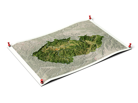 Czech Republic on unfolded map sheet with thumbtacks. Map colored according to vegetation, with borders and major urban areas.
