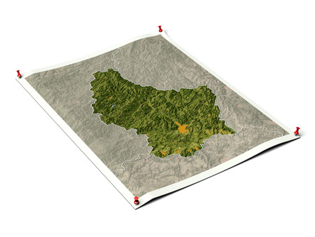 Luxembourg on unfolded map sheet with thumbtacks. Map colored according to vegetation, with borders and major urban areas. Includes clip path for the background.  Map projection: Mercator ; Geographic extents: W: 5.55; E: 6.65; S: 49.35; N: 50.3 Stock Photo