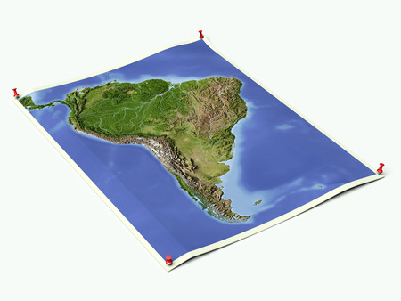 South America on unfolded map sheet with thumbtacks. Stock Photo