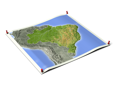 Brazil on unfolded map sheet with thumbtacks. Map colored according to vegetation, with borders. Includes clip path for the background.  Map projection: Lambert Azimuthal Equal-Area -60-20; Geographic extents: W: -83; E: -32; S: -35; N: 11