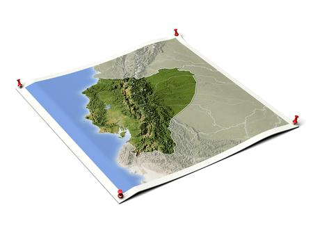 Ecuador op opengevouwen kaartblad met punaises. Kaart gekleurd volgens vegetatie, met randen en grote stedelijke gebieden.