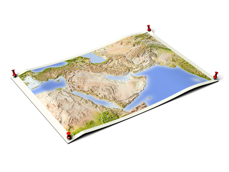 Near East on unfolded map sheet with thumbtacks. Map colored according to vegetation, with borders. Includes clip path for the background.  Map projection: Mercator ; Geographic extents: W: 23; E: 78; S: 9; N: 43