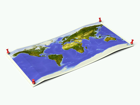 World map on unfolded map sheet with thumbtracks.