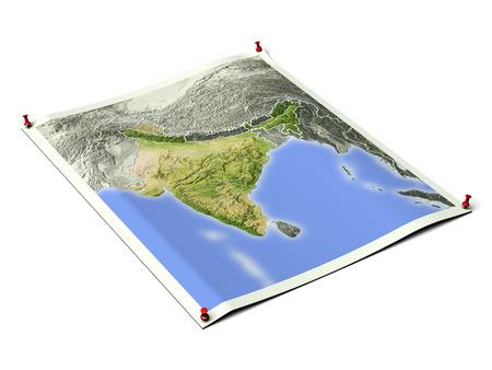 Indien auf aufgeklapptem Kartenblatt mit Reißzwecken. Karte farbig nach Vegetation, mit Rändern. Enthält einen Clippfad für den Hintergrund. Kartenprojektion: Mercator; Geografische Ausdehnung: W: 65; E: 100; S: 0; N: 40
