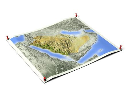 Arábia Saudita na folha de mapa desdobrado com tachinhas. Mapa colorido de acordo com a vegetação, com bordas. Inclui o caminho do clipe para o plano de fundo. Foto de archivo