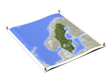 Sweden on unfolded map sheet with thumbtacks.Map colored according to vegetation, with borders and major urban areas.Includes clip path for the background. Map projection: Lambert Conic Conformal 20603573; Geographic extents: W: 0; E: 35; S: 52; N: 73 Stock Photo