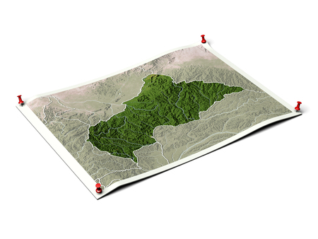 Central African Republic on unfolded map sheet with thumbtacks. Map colored according to vegetation, with borders. Stock Photo