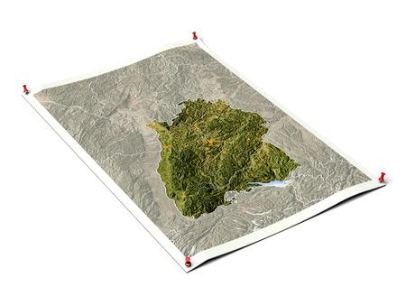 Baden-Wuerttemberg op opengevouwen kaartblad met punaises. Kaart gekleurd volgens vegetatie, met randen en grote stedelijke gebieden.