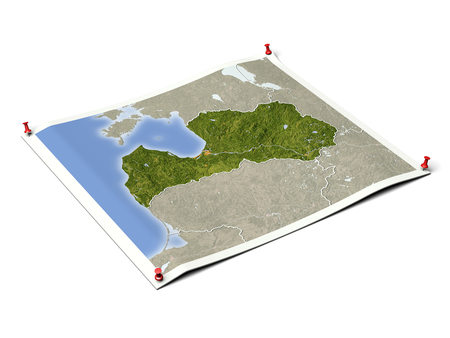 Latvia on unfolded map sheet with thumbtacks. Map colored according to vegetation, with borders and major urban areas.