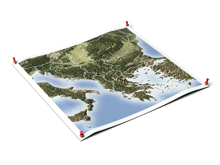 Balkans on unfolded map sheet with thumbtacks. Map colored according to vegetation, with borders.