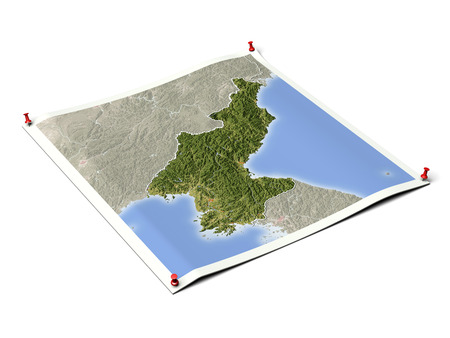 North Korea on unfolded map sheet with thumbtacks. Map colored according to vegetation, with borders and major urban areas. Stock Photo