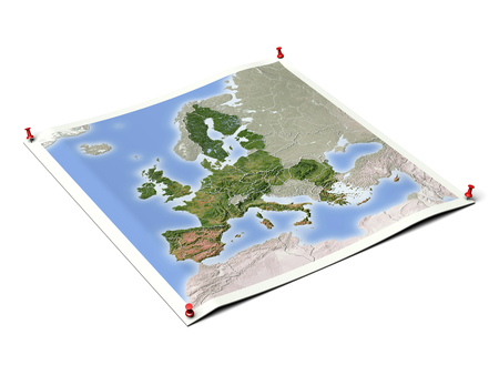European Union on unfolded map sheet with thumbtacks. Map colored according to vegetation, with borders. Stock Photo