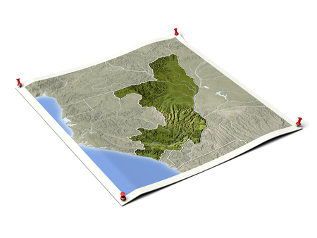 Congo on unfolded map sheet with thumbtacks. Map colored according to vegetation, with borders. Includes clip path for the background.  Map projection: Mercator ; Geographic extents: W: 9; E: 20; S: -6.5; N: 5.49 Stock Photo