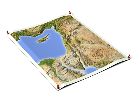 Palestine on unfolded map sheet with thumbtacks.Map colored according to vegetation.Includes clip path for the background. Map projection: Mercator; Geographic extents: W: 30; E: 40; S: 27; N: 38 Stock Photo