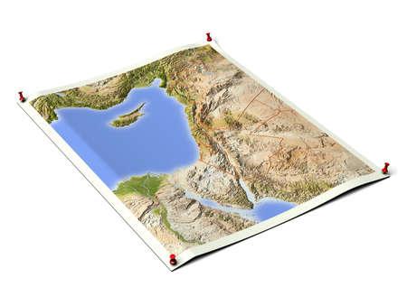 サムタックを持つ展開されたマップ シート上のアラブの国。国境や主要な都市部で、植生に応じて色分けされたマップ。背景のクリップ パスが含ま