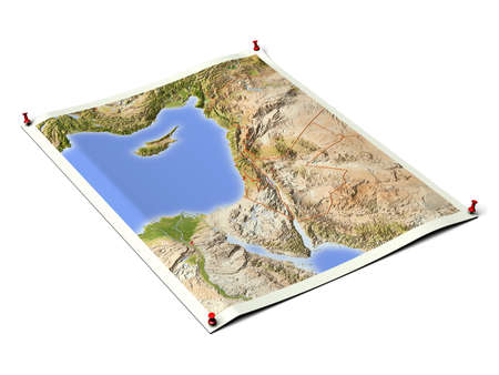 Arab country on unfolded map sheet with thumbtacks.Map colored according to vegetation, with borders and major urban areas.Includes clip path for the background. Map projection: Mercator; Geographic extents: W: 30; E: 40; S: 27; N: 38