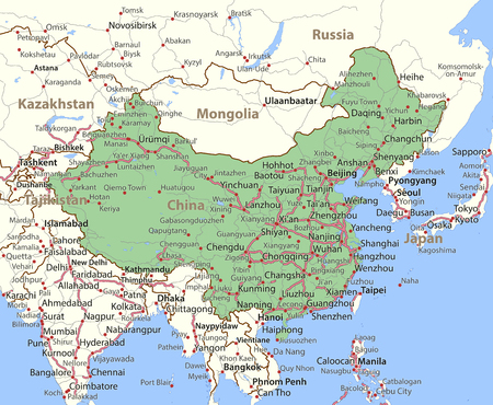 Map of China. Shows country borders, place names and roads. Labels in English where possible. 向量圖像