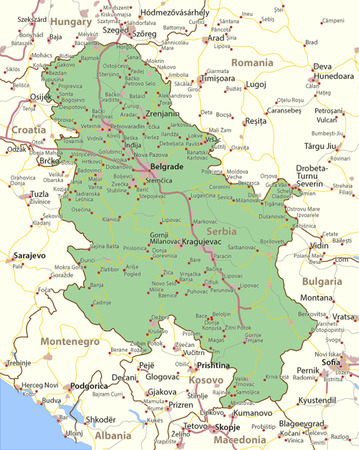 Map of Serbia. Shows country borders, urban areas, place names and roads. Labels in English where possible.