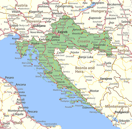 Map of Croatia. Shows country borders, urban areas, place names and roads.