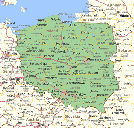 Map of Poland. Shows country borders, urban areas, place names and roads. Labels in English where possible.