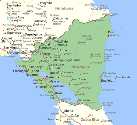 Map of Nicaragua. Shows country borders, urban areas, place names and roads. Labels in English where possible.