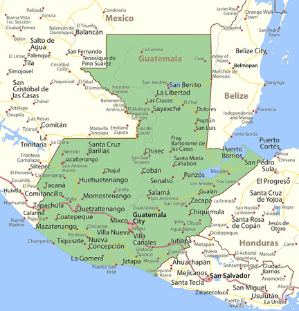 Map of Guatemala. Shows country borders, urban areas, place names and roads. Labels in English where possible.