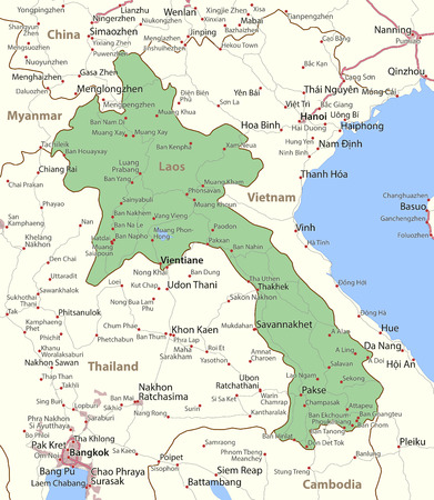 Map of Laos. Shows country borders, urban areas, place names and roads. Labels in English where possible.