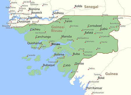 Map of Guinea-Bissau. Shows country borders, urban areas, place names and roads. Labels in English where possible. Ilustração