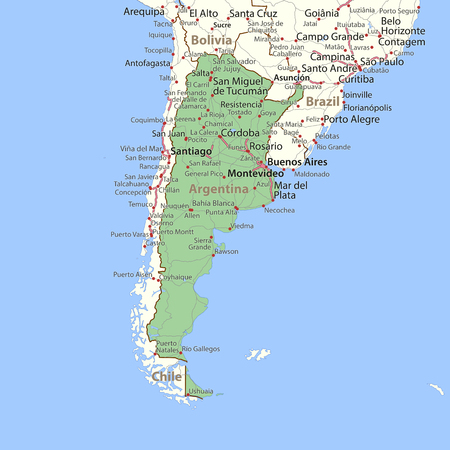 Map of Argentina. Shows country borders, place names and roads. Labels in English where possible. Imagens - 95808388