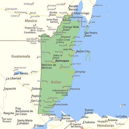 Map of Belize. Shows country borders, urban areas, place names and roads. Labels in English where possible. Imagens - 95808379