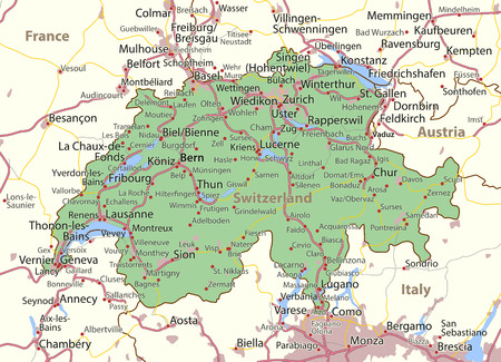 Map of Switzerland. Shows country borders, urban areas, place names and roads. Labels in English where possible.