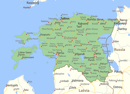 Map of Estonia. Shows country borders, urban areas, place names and roads. Labels in English where possible.