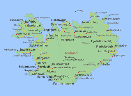 Map of Iceland. Shows country borders, urban areas, place names and roads.