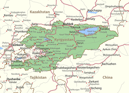 Map of Kyrgyzstan. Shows country borders, urban areas, place names and roads. Labels in English where possible.