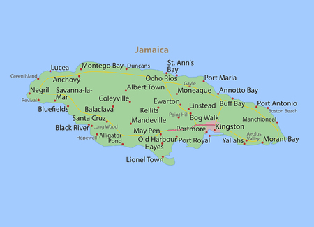 Map of Jamaica. Shows country borders, urban areas, place names and roads. Labels in English where possible. Ilustração