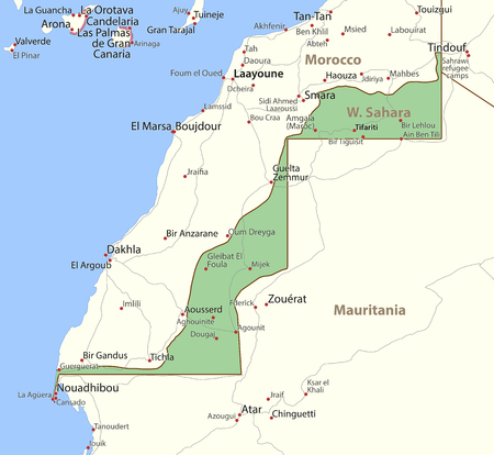Map of Western Sahara. Shows country borders, urban areas, place names and roads. Labels in English where possible.