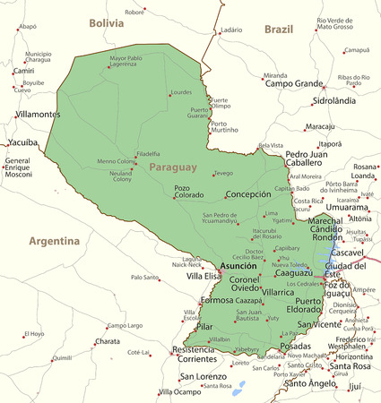 Map of Paraguay. Shows country borders, urban areas, place names and roads. Labels in English where possible.