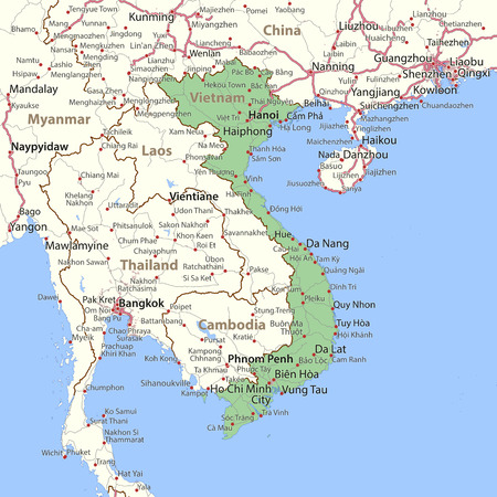 Map of Vietnam. Shows country borders, urban areas, place names and roads. Labels in English where possible. Imagens - 95808471